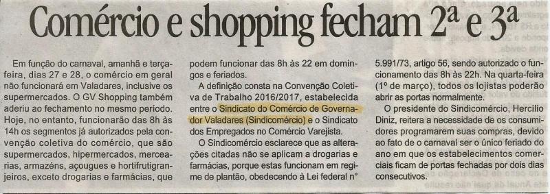 Comércio e Shopping fecham 2ª e 3ª