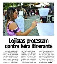 Lojistas protestam contra  feira itinerante
