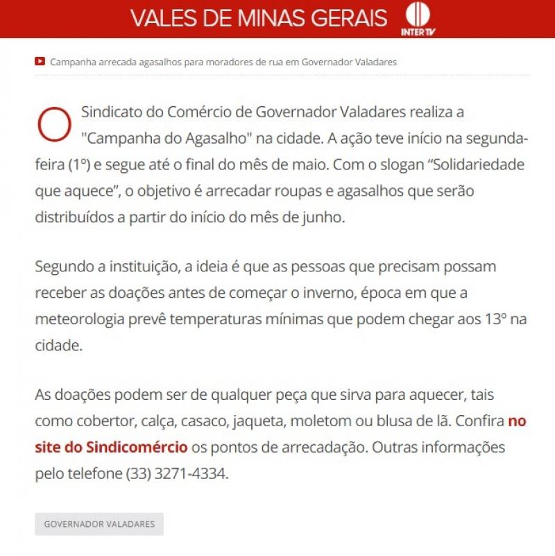 Sindicomércio realiza 'Campanha do Agasalho' em Governador Valadares