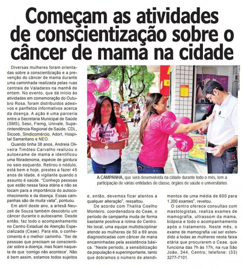 Começam as atividades sobre o câncer de mama na cidade