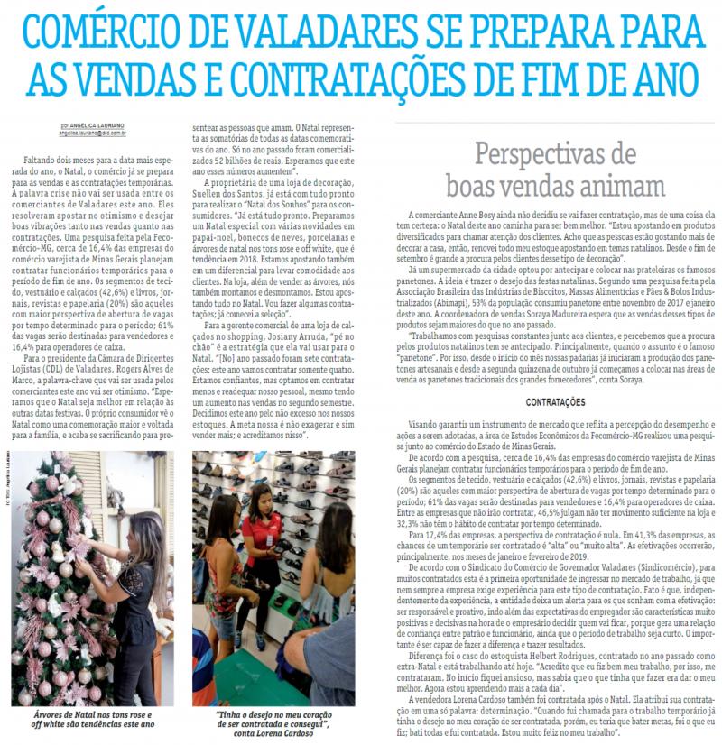 Comércio de Valadares se prepara para as vendas e contratações de fim de ano