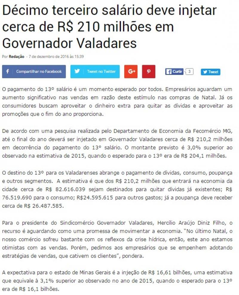 Décimo terceiro salário deve injetar cerca de R$ 210 milhões em Governador Valadares