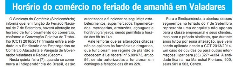 Horário do comércio no feriado de amanhã em Valadares