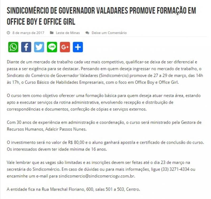 Sindicomércio de Governador Valadares promove formação em Office Boy e Office Girl