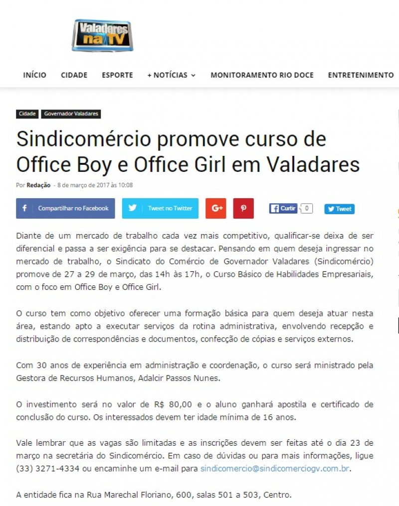 Sindicomércio promove curso de Office Boy e Office Girl em Valadares