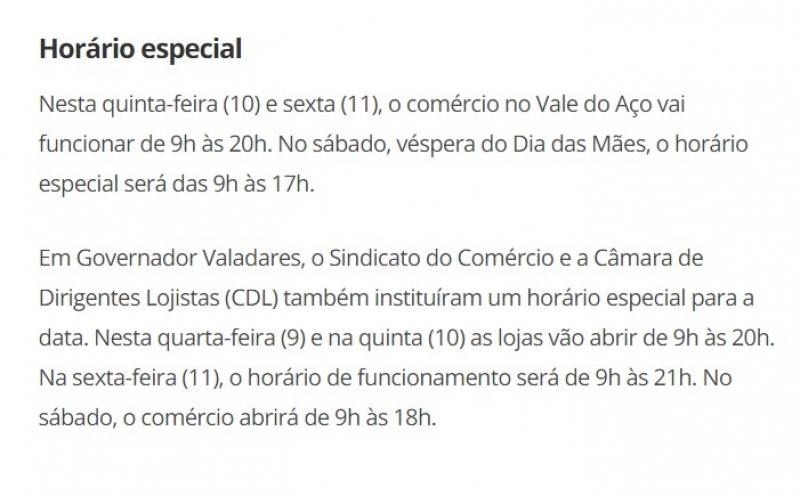 Confira o horário especial do comércio no Vale do Aço e em Governador Valadares