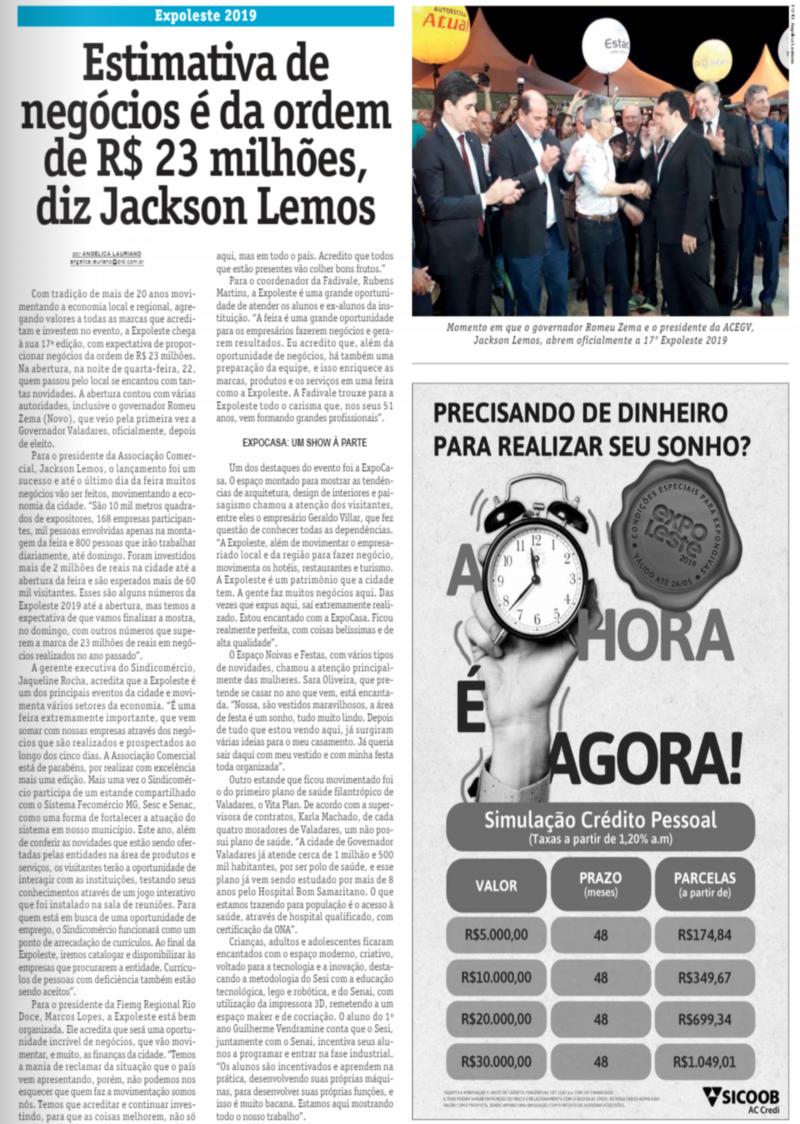 Expoleste 2019: Estimativa de negócios é da ordem de R$ 23 milhões, diz Jackson Lemos