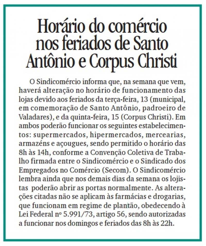 Horário do comércio nos feriados de Santo Antônio e Corpus Christi
