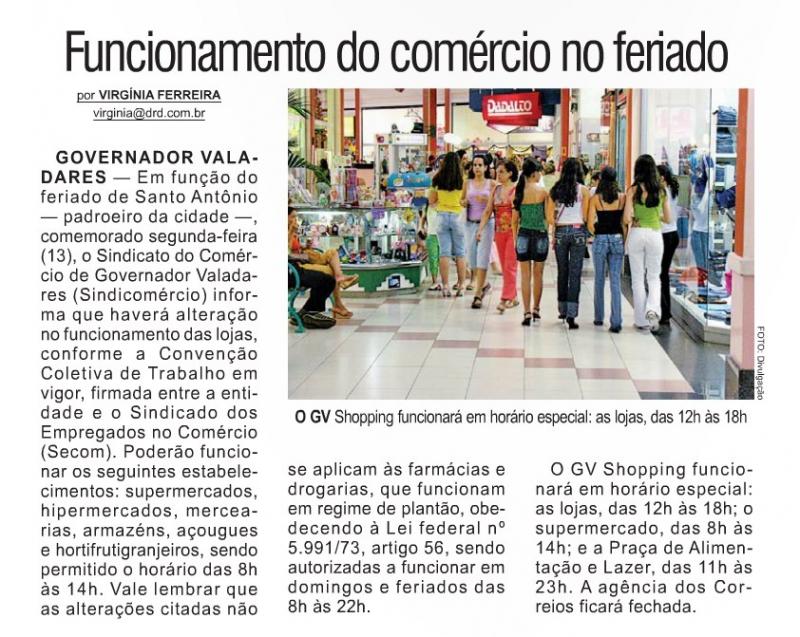 Funcionamento do Comércio no Feriado Municipal