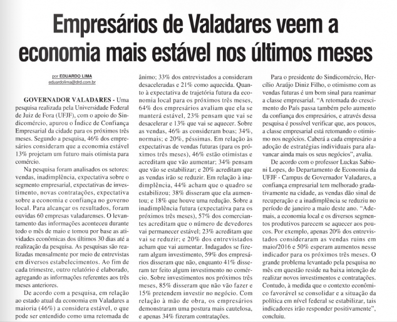 Empresários de Valadares veem a economia mais estável nos últimos meses
