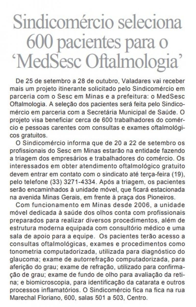 Sindicomércio seleciona 600 pacientes para o 'MedSesc Oftalmologia'