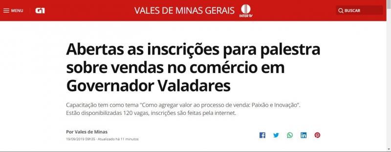Abertas as inscrições para palestra sobre vendas no comércio em Governador Valadares