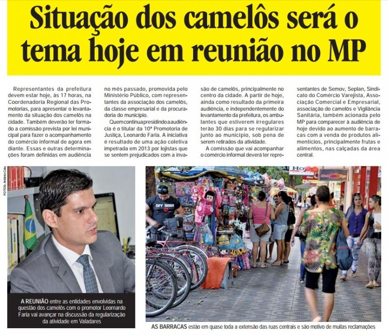 Situação dos camelôs será o tema hoje em reunião no MP