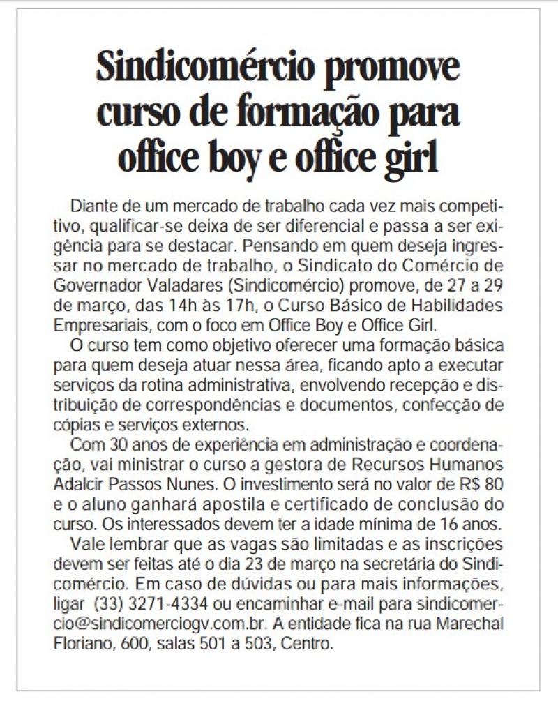 Sindicomércio promove curso de formação para office boy e office girl