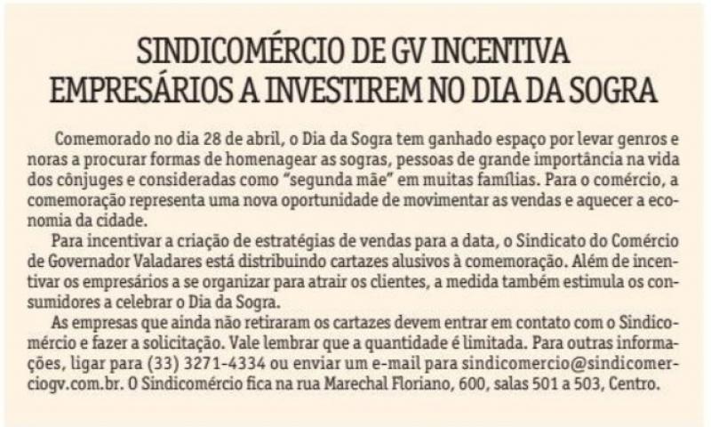Sindicomércio de GV incentiva empresários a investirem no Dia da Sogra