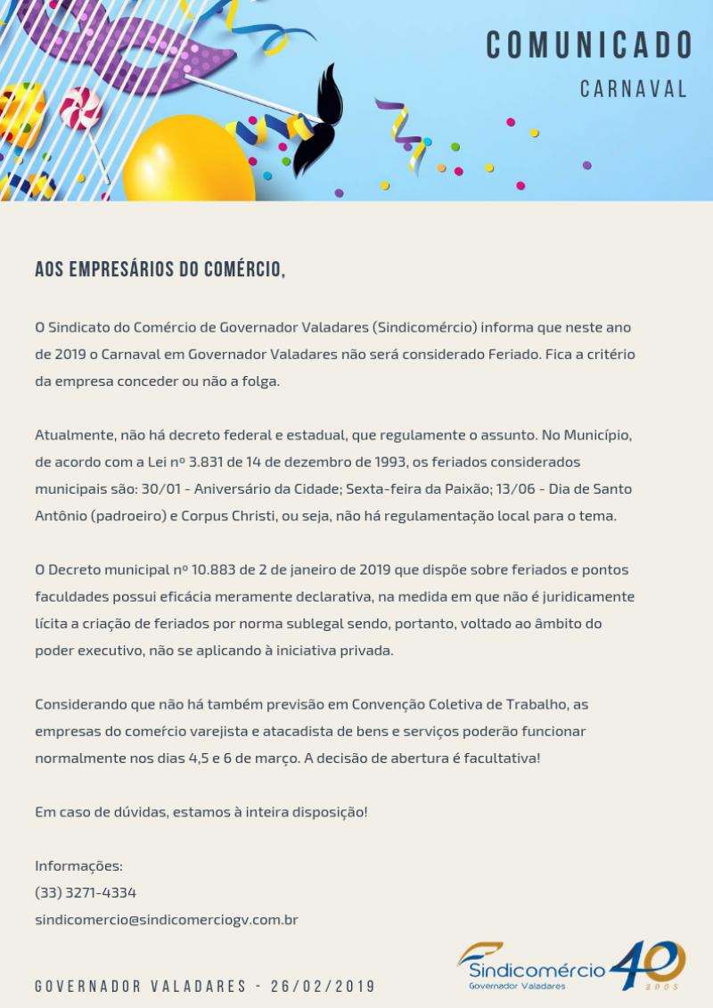 Carnaval não é feriado em Valadares