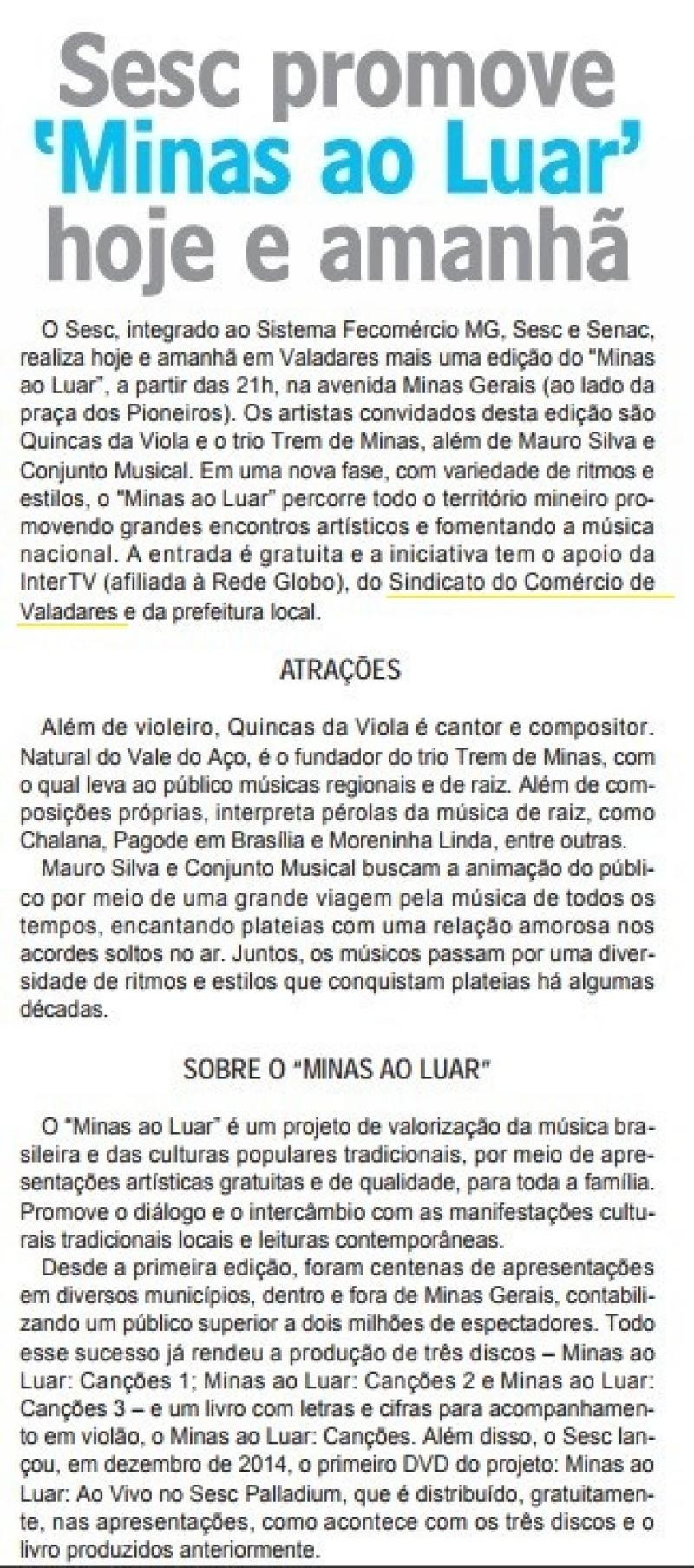 Sesc promove 'Minas ao Luar' hoje