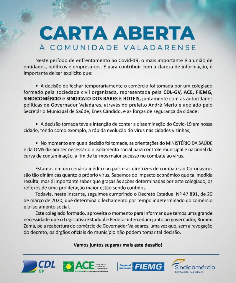 Carta aberta à comunidade Valadarense