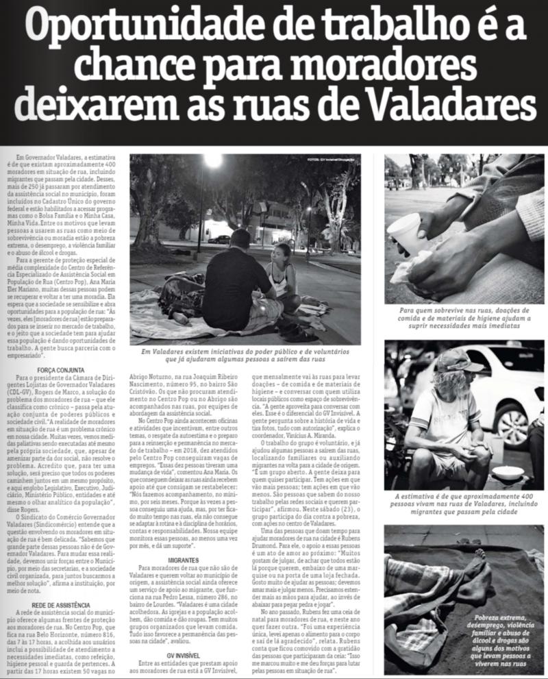 Oportunidade de trabalho é a chance para moradores deixarem as ruas de Valadares