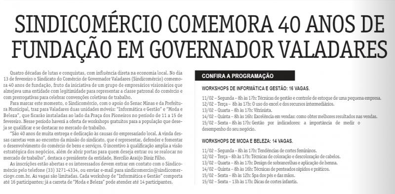 Sindicomércio comemora 40 anos de fundação em Governador Valadares