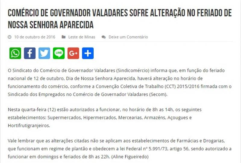 Comércio de Governador Valadares sofre alteração no feriado de Nossa Senhora Aparecida