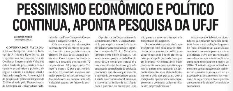 Pessimismo econômico e político continua, aponta pesquisa da UFJF
