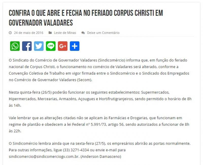 Confira o que abre e fecha no feriado Corpus Christi em Governador Valadares