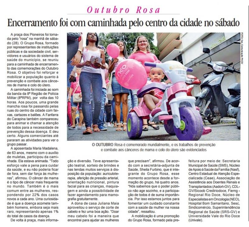 Outubro Rosa, encerramento foi com caminhada no centro da cidade no sábado